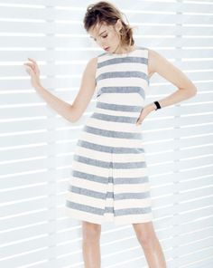 J.Crew women's dress in stripe basket weave. To preorder call 800 261 7422 or email erica@jcrew.com.