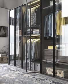 glass-closet-system by italian lema wardrobe The New Transparency: 7 Glass-Fronted Closets and Wardrobes - Remodelista Walk In Closet Design, Wardrobe Design, Closet Designs, Stockholm Design, Front Closet, Entryway Closet, Dressing Room Design, Dressing Rooms, Dressing Table