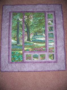 A dear friend shared her fabric from Switzerland, and I used two identical panels to make this wall hanging.