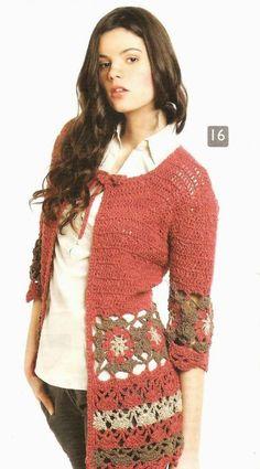Patrón #1533: Chaqueta a Crochet