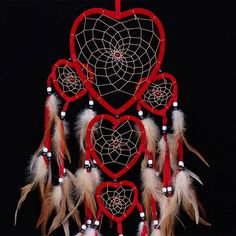 MS8049 Vintage 3 tier Dream Catcher Hearts Shaped Net with Feather Bead Hanging Decoration Ornament