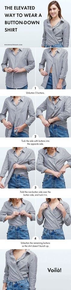 Always wear a basic button-down to work? Try this step-by-step style trick and completely elevate your usual look.