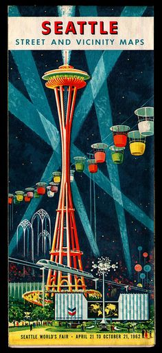 Seattle Street Map / Space Needle / Vintage / Retro / Atomic Age Illustration / Space Age Architecture / Sea-Town