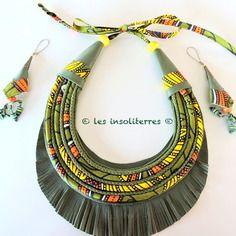 www.cewax.fr aime les bijoux ethno tendance Bijoux ethniques et style tribal. Retrouvez tous les articles sur la mode afro sur le blog de CéWax: cewax.wordpress.com/ Collier ethnique en tissu wax et cuir multi rangs ethno chic nomade bohème