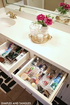 BATHROOM UNDER SINK CABINET, DRAWER, AND LINEN CLOSET ORGANIZATION - Dimples and Tangles