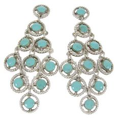 Kingman Turquoise Sterling Silver Chandelier Earrings OS61196