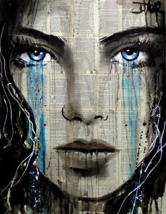 Beautiful Female Portraits on vintage book pages by Loui Jover