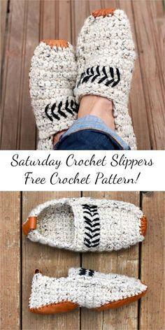 [Free Pattern] Saturday Crochet Slippers: Visit site and follow free crochet pattern! #crochet #slippers #craft