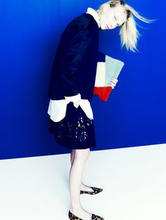 J.Crew Collection: boiled top with satin sleeves, jeweled faille skirt, and Harper calf hair flats.