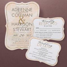 Suíte bonito do convite do casamento do vintage