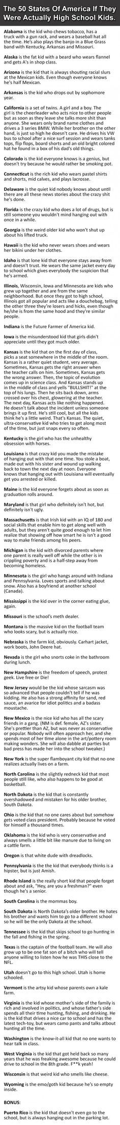 The 50 States Of America If They Were High School Kids.  Some of these made me laugh!