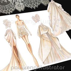 Playing with Couture Paper Dolls #fashiondesign #fashionillustration #paulkengillustrator #inspiration #bridal #weddingdress #wedding #couture #gowns