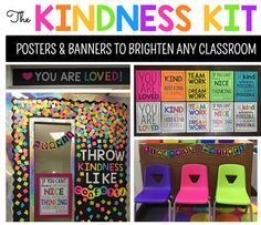 "What better time to teach kindness and empathy than the present? Jump on board the kindness revolution and add some color to your classroom with these powerful banners and posters. This Kindness Kit includes:- The trending ""Throw Kindness Like Confetti"" door template- 6 Kindness/motivational posters- ""You Are Loved"" banner- ""Kindness Matters"" bunting"