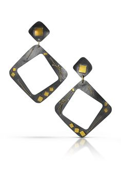 Square Hoop Earrings by Suzanne Schwartz. Large Square Hoop Earrings in either oxidized or bright Argentium silver embellished with gold squares and stitching. Silver Earrings, Hoop Earrings, Baubles And Beads, Oxidized Silver, Jewelry Art, Squares, Stitching, Bright, Amp