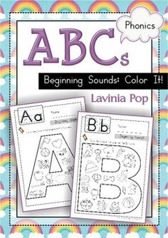Beginning Sounds - Color It! - pages) - Basic beginning sounds worksheets for children in Preschool and Kindergarten Kindergarten Literacy, Preschool Learning, Fun Learning, Learning Activities, Preschool Ideas, Phonics Activities, Alphabet Activities, Preschool Alphabet, Beginning Sounds Worksheets