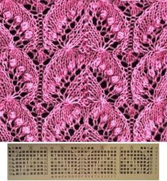 Photo Openwork Leaves Lace Knitting - K Lace - Diy Crafts Lace Knitting Stitches, Lace Knitting Patterns, Knitting Charts, Lace Patterns, Knitting Designs, Hand Knitting, Stitch Patterns, Tricot D'art, Diy Crafts Knitting