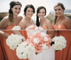 coral wedding, flowers and dresses parasol umbrella