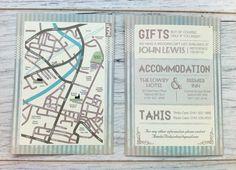 Polka Dots & Pinstripes Wedding Stationery Map by PaperKnots