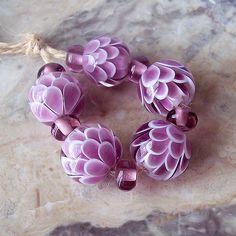 Pink Chrysanthemum Handmade Lampwork Bead Set. Lotus Lampwork Bead Set. Made to order.