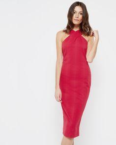 Snake jacquard midi dress - Mid Red | Dresses | Ted Baker