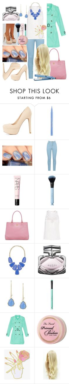 """""""Spring Blue"""" by tropical-vegas-finest ❤ liked on Polyvore featuring Charlotte Russe, Stila, Amapô, NARS Cosmetics, Tory Burch, Rebecca Taylor, Kendra Scott, Gucci, Club Monaco and Too Faced Cosmetics"""