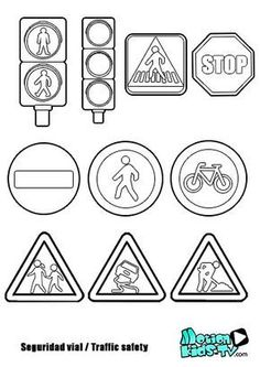 Traffic signs coloring pages, road safety resources Preschool Worksheets, Preschool Activities, Printable Worksheets, Free Printable, Printables, Road Safety Signs, Safety Road, Transportation Crafts, Colouring Pages