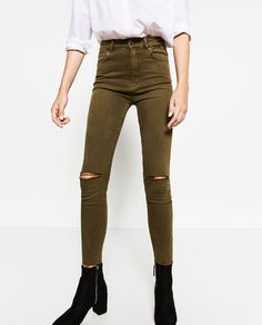 HIGH-WAISTED RIPPED TROUSERS-View all-JEANS-WOMAN | ZARA United States