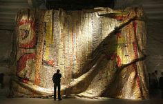 favorite artist El Anatsui at the ROM  huge sculptural wallhangings made from recycled bottle caps and tins  Amazing work!!