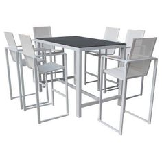 Pangea Outdoor Piano Aluminum 7-Piece Rectangular Bar-Height Patio Dining Set - PIANO- 7PC BAR SET WHITE, Durable