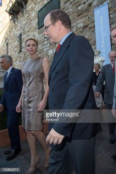 Prince Albert and princess Charlene of Monaco attend official visit at Palazzo Vecchio on October 10, 2012 in Florence, Italy.