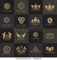 Luxury Logo set with Heraldic crests and Flourishes Calligraphic Monogram design for hotel,Spa,Restaurant,VIP,Fashion and Premium brand identity. Logo Design, Monogram Design, Monogram Logo, Bakery Logo, Logo Restaurant, Cafe Logo, Logos, Typography Logo, Lawyer Business Card
