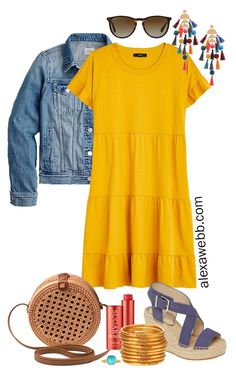 Plus Size Casual Summer Dress Outfits - Alexa Webb Plus Size Casual Summer Dress Outfits with a mustard yellow tiered knit dress, denim jacket, rattan canteen bag, and wedge espadrille sandals - Alexa Webb Black Dress Outfits, Summer Dress Outfits, Casual Summer Dresses, Spring Outfits, Casual Outfits, Cute Outfits, Summer Clothes, Curvy Fashion, Look Fashion