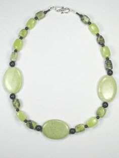 large serpentine and yellow turquoise necklace