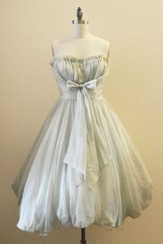 1950's pastel mint green chiffon dress