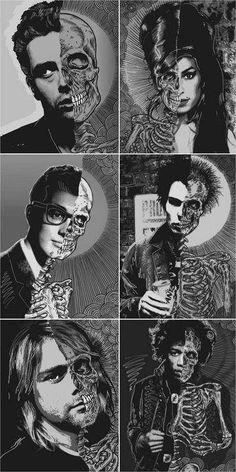 The 27's Club James Dean Amy Winehouse Buddy Holly Sid Vicious Kirk Cobain Jimmy Hendrix Skull Skelton