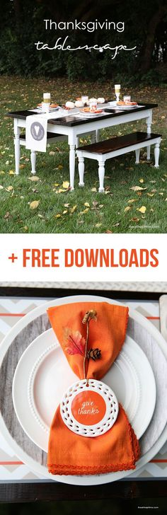Simple and beautiful Thanksgiving tablescape with free printables on iheartnaptime.com #fall #tablescapes #shutterflydecor