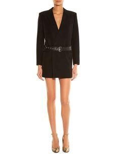 SAINT LAURENT belted tuxedo dress €4502 and Babies pumps €929