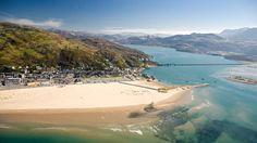Aerial view of Barmouth and the Mawdach Estury