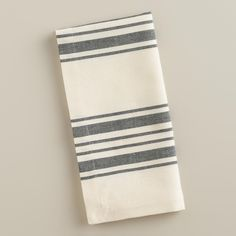 Black Villa Stripe Napkins, Set of 4 | World Market  Ultimately, I'd love to have a set of 8...