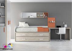 Dormitorio Juvenil con Compacto de 3 camas