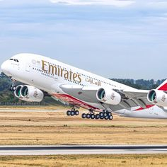 Emirates A380, Airbus A380, Air Space, Commercial Aircraft, Airports, Airplanes, Natural Beauty, Cities, Wheels