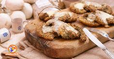 Cotolette al forno di Patate e Funghi a fette, rese croccanti da una impanatura aromatizzata e caciocavallo a fette. Ricetta con foto e valori nutrizionali