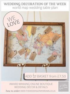 This week our wedding decoration of the week is our ever popular world map wedding table plan. This table plan is perfect for a travel themed wedding, or maybe Wedding Table Seating, Wedding Table Names, Trendy Wedding, Our Wedding, Wedding Ideas, Wedding Vintage, Wedding Favors, Travel Themes, Wedding Planning Tips