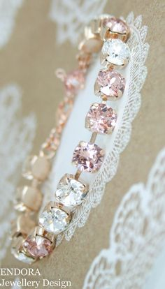 Crystal braceletblush pink braceletswarovski by EndoraJewellery