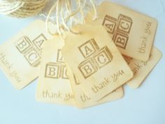 Handmade Baby Shower Favor TagsVintage ABC by LillyThings on Etsy, $6.50