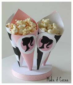 Barbie Party Pop corn cones on styrofoam stand. DIY instructions in post.