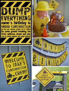 Dump everything...and come to a birthday party DIY Printable Collection CONSTRUCTION PARTY by BelvaJune on Etsy