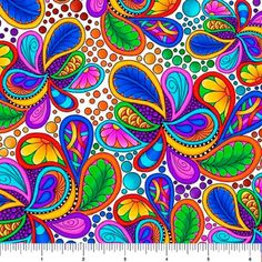Carnivale Paisley Cotton Fabric / Carnivale Fabric Yardage / Quilting Treasures 26372 -J / Carnivale Paisley by the yard and Fat Quarters This cotton fabric. Fabric width is All Carnivale Floral Fabrics Here: Paisley Art, Rainbow Swirl, Cotton Quilting Fabric, Art Plastique, Floral Fabric, Canvas Art, Quilts, Artwork, Inspiration