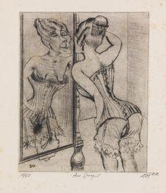Otto Dix -   Am Spiegel. 1922.  Drypoint.