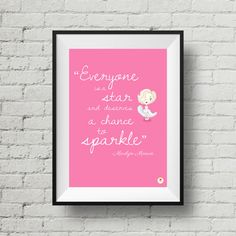 Marilyn Monroe Illustration Quote Poster Pink  by Smogawoo on Etsy